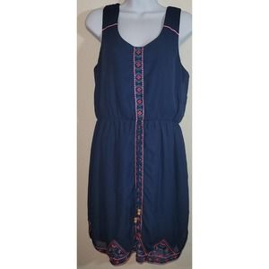 Maurices Blue Embroidered Midi Dress Large